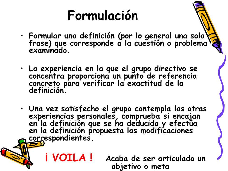 Formulación Formular una definición (por lo general una sola frase) que corresponde a la cuestión o problema examinado.