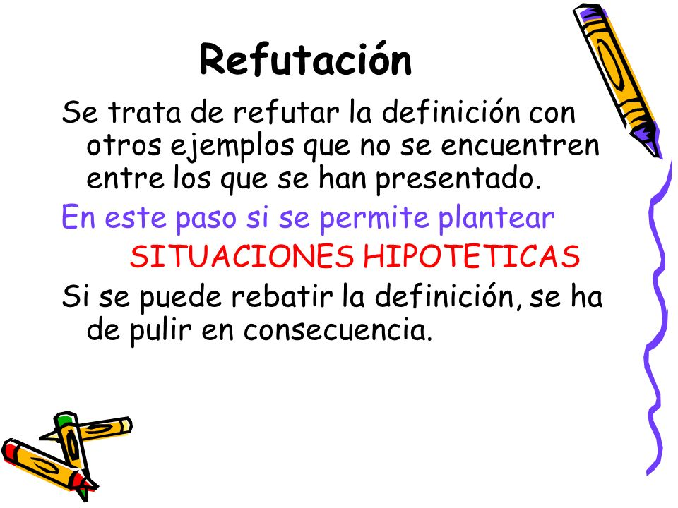 Refutación Se trata de refutar la definición con otros ejemplos que no se encuentren entre los que se han presentado.