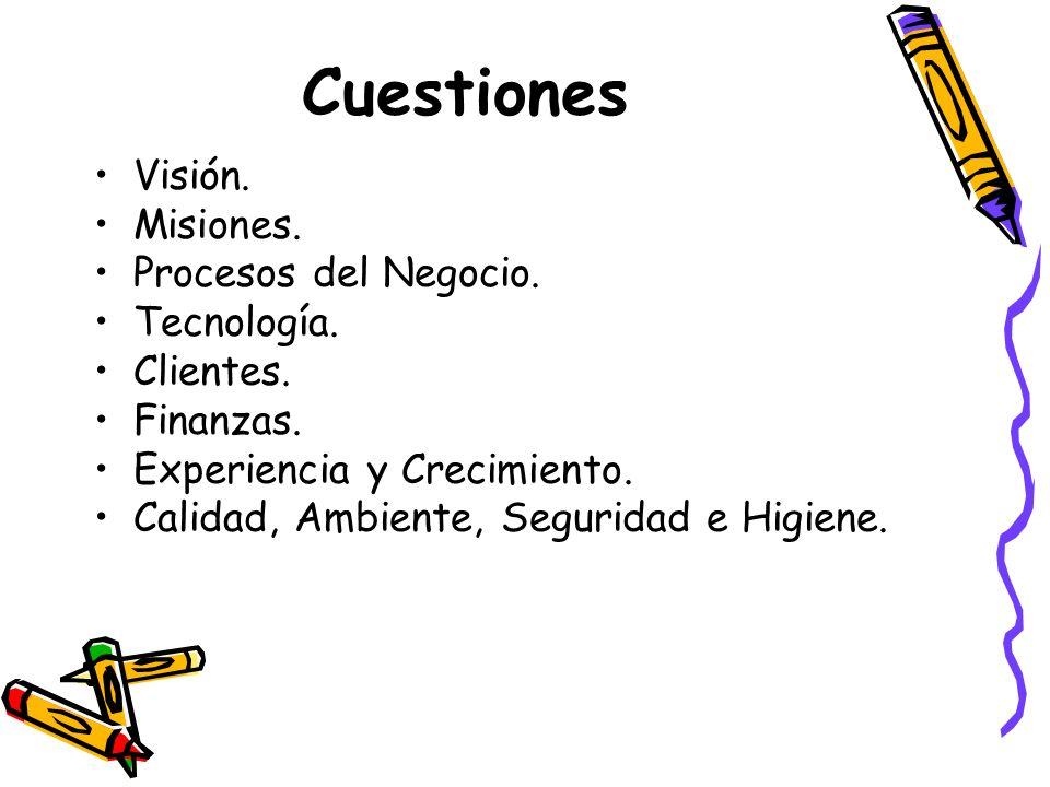 Cuestiones Visión. Misiones. Procesos del Negocio. Tecnología.