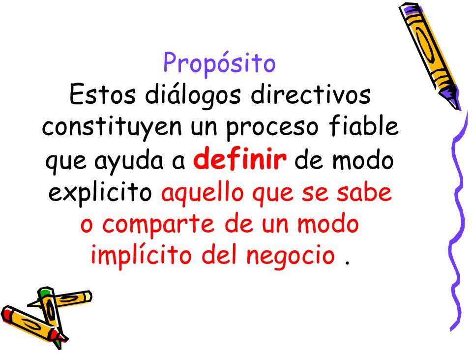 Propósito Estos diálogos directivos constituyen un proceso fiable que ayuda a definir de modo explicito aquello que se sabe o comparte de un modo implícito del negocio .