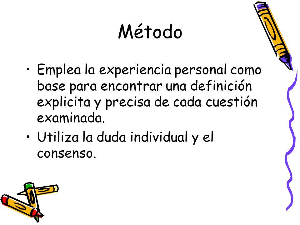 Método Emplea la experiencia personal como base para encontrar una definición explicita y precisa de cada cuestión examinada.