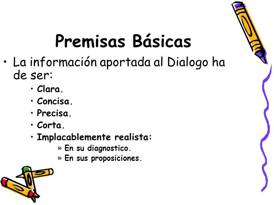 Premisas Básicas La información aportada al Dialogo ha de ser: Clara.