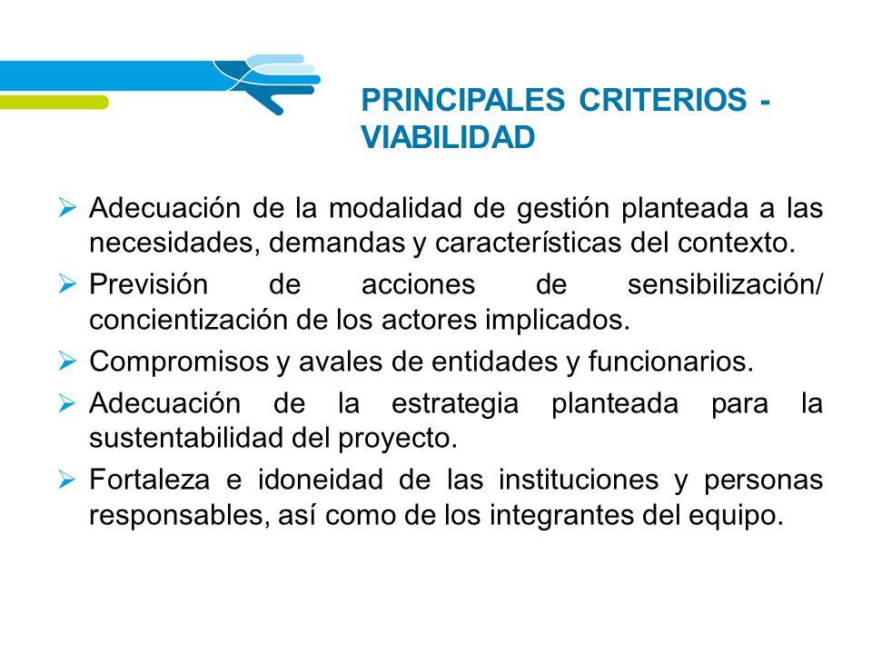 PRINCIPALES CRITERIOS - VIABILIDAD