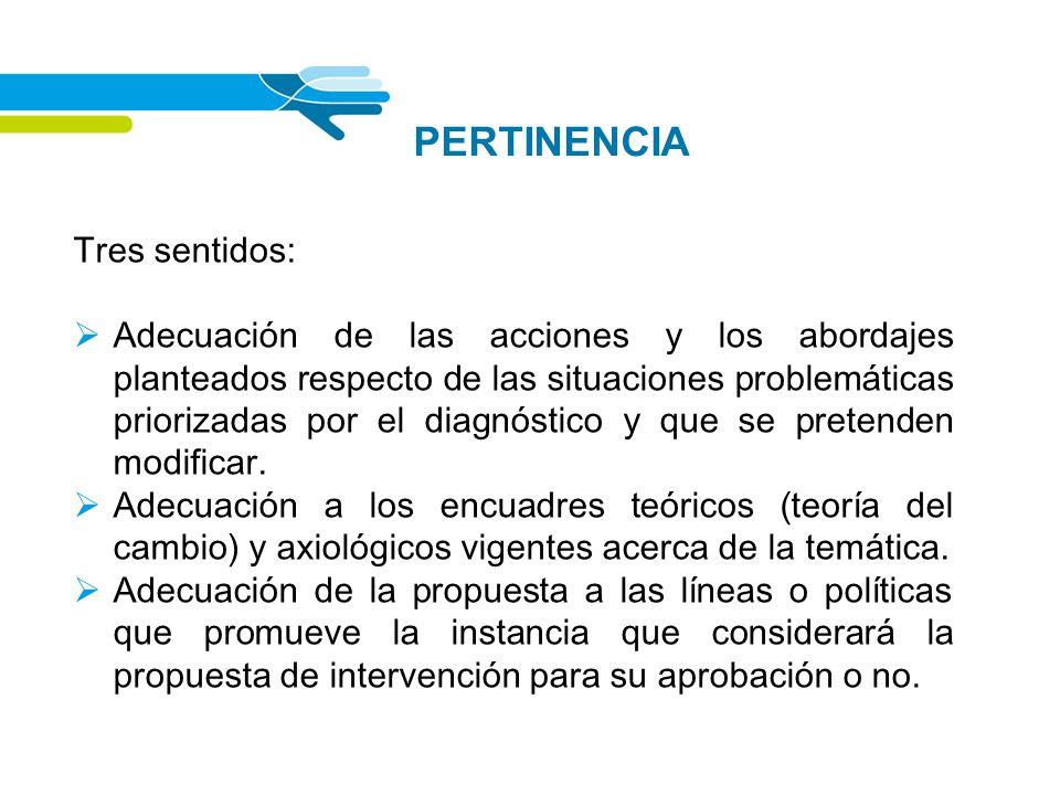 PERTINENCIA Tres sentidos: