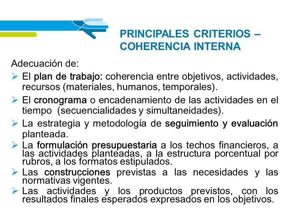 PRINCIPALES CRITERIOS – COHERENCIA INTERNA
