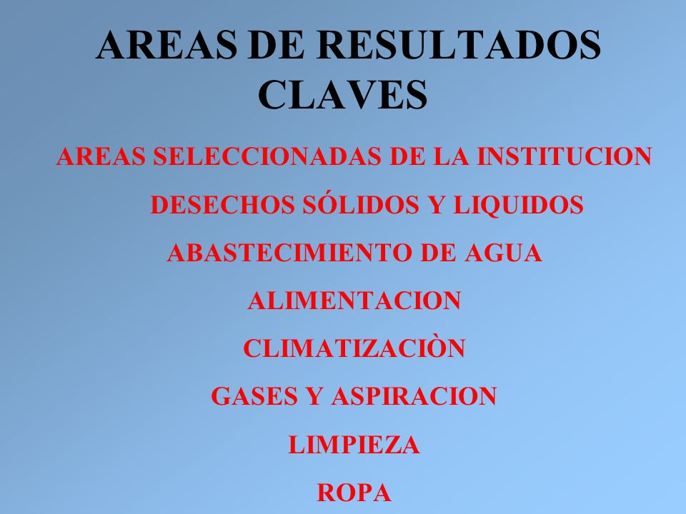 AREAS DE RESULTADOS CLAVES