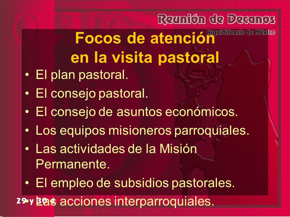 Focos de atención en la visita pastoral