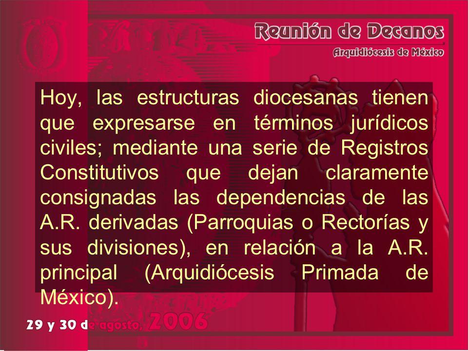 Hoy, las estructuras diocesanas tienen que expresarse en términos jurídicos civiles; mediante una serie de Registros Constitutivos que dejan claramente consignadas las dependencias de las A.R.