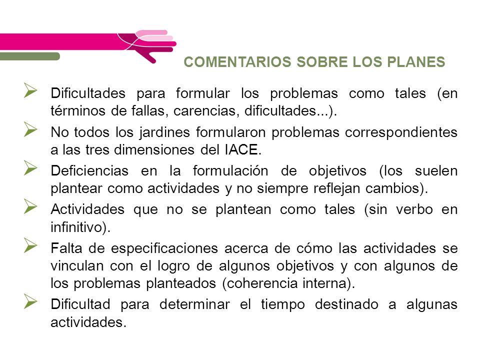 COMENTARIOS SOBRE LOS PLANES