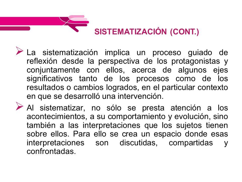 SISTEMATIZACIÓN (CONT.)