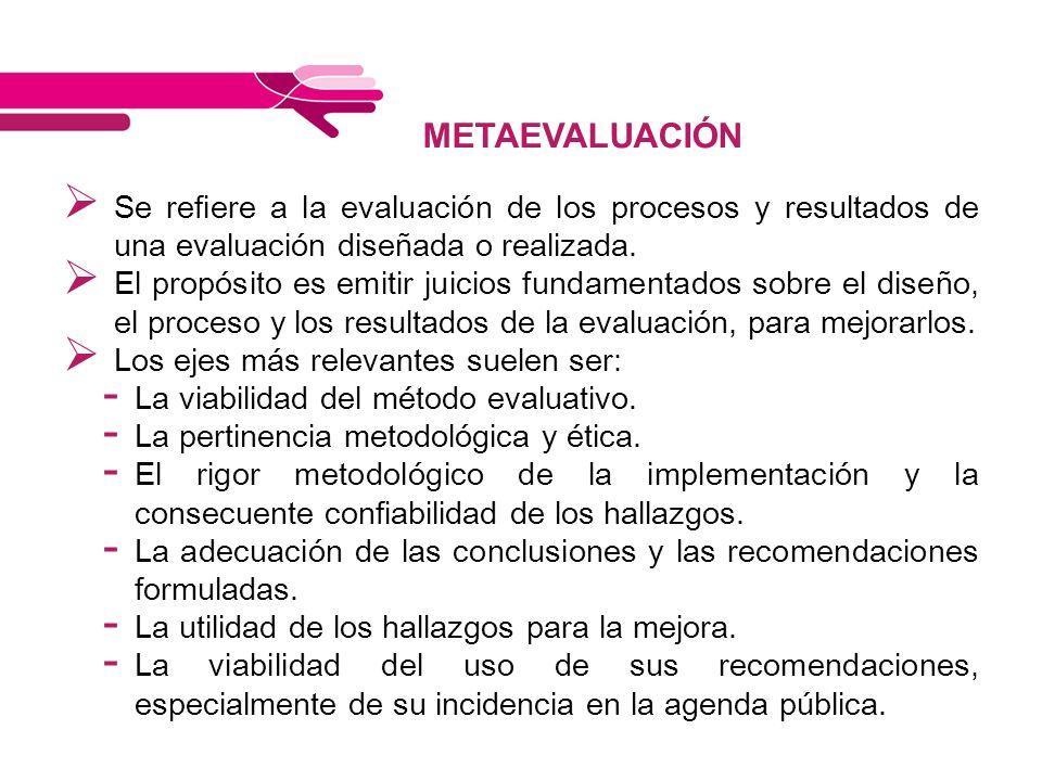 METAEVALUACIÓN Se refiere a la evaluación de los procesos y resultados de una evaluación diseñada o realizada.