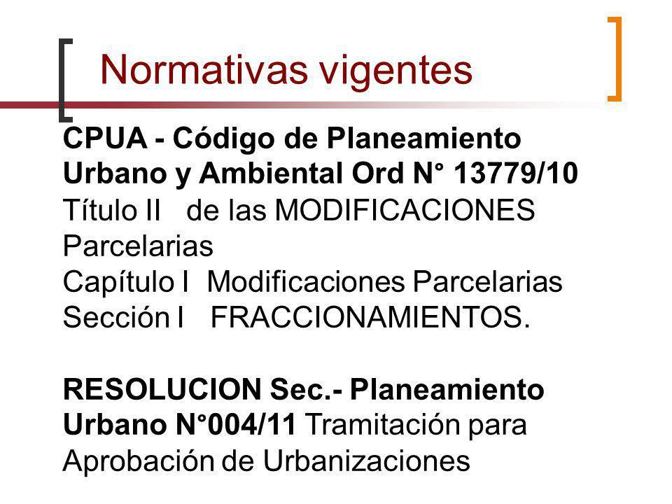 Normativas vigentes CPUA - Código de Planeamiento Urbano y Ambiental Ord N° 13779/10. Título II de las MODIFICACIONES Parcelarias.