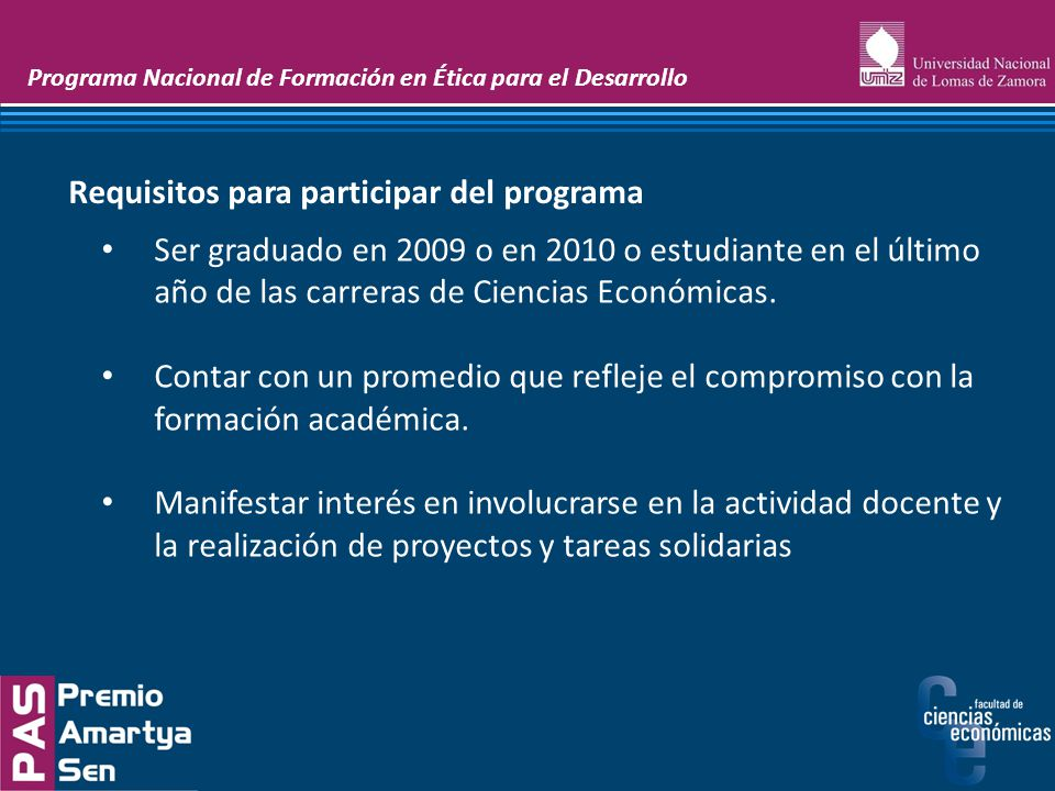 Requisitos para participar del programa