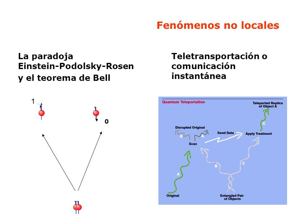 Fenómenos no locales La paradoja Einstein-Podolsky-Rosen y el teorema de Bell.