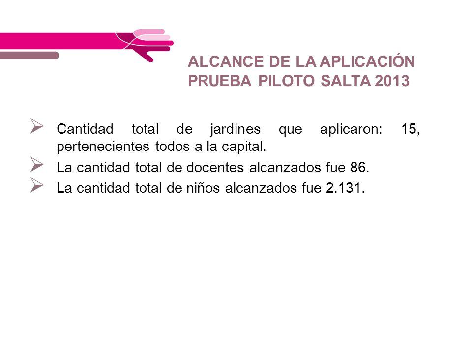 ALCANCE DE LA APLICACIÓN PRUEBA PILOTO SALTA 2013