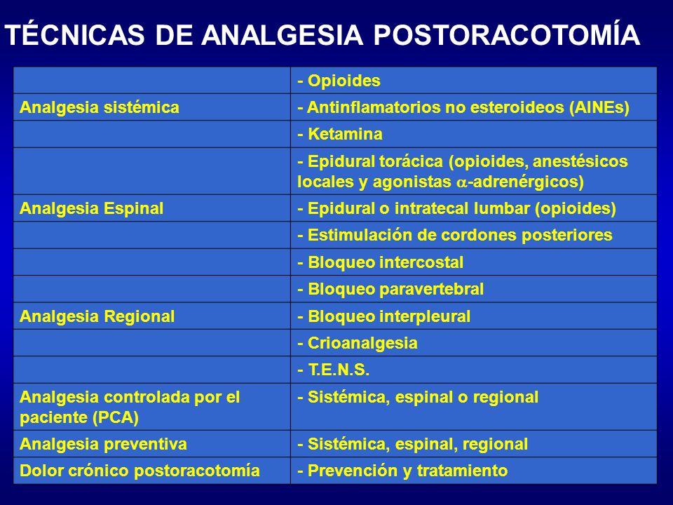 TÉCNICAS DE ANALGESIA POSTORACOTOMÍA