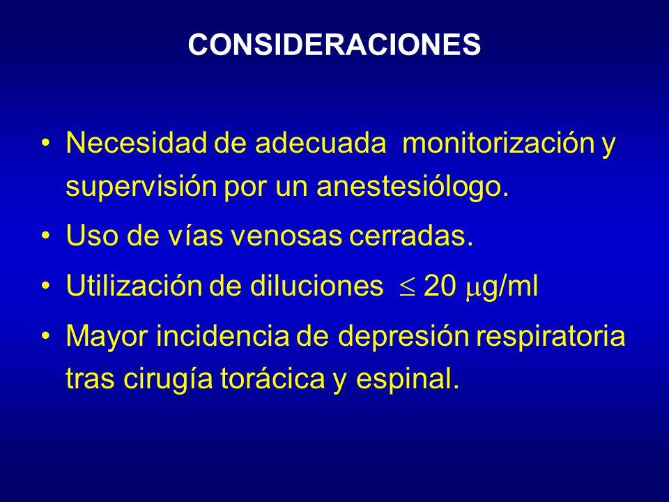 CONSIDERACIONES Necesidad de adecuada monitorización y supervisión por un anestesiólogo. Uso de vías venosas cerradas.