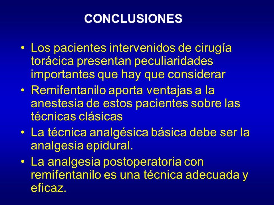 CONCLUSIONES Los pacientes intervenidos de cirugía torácica presentan peculiaridades importantes que hay que considerar.