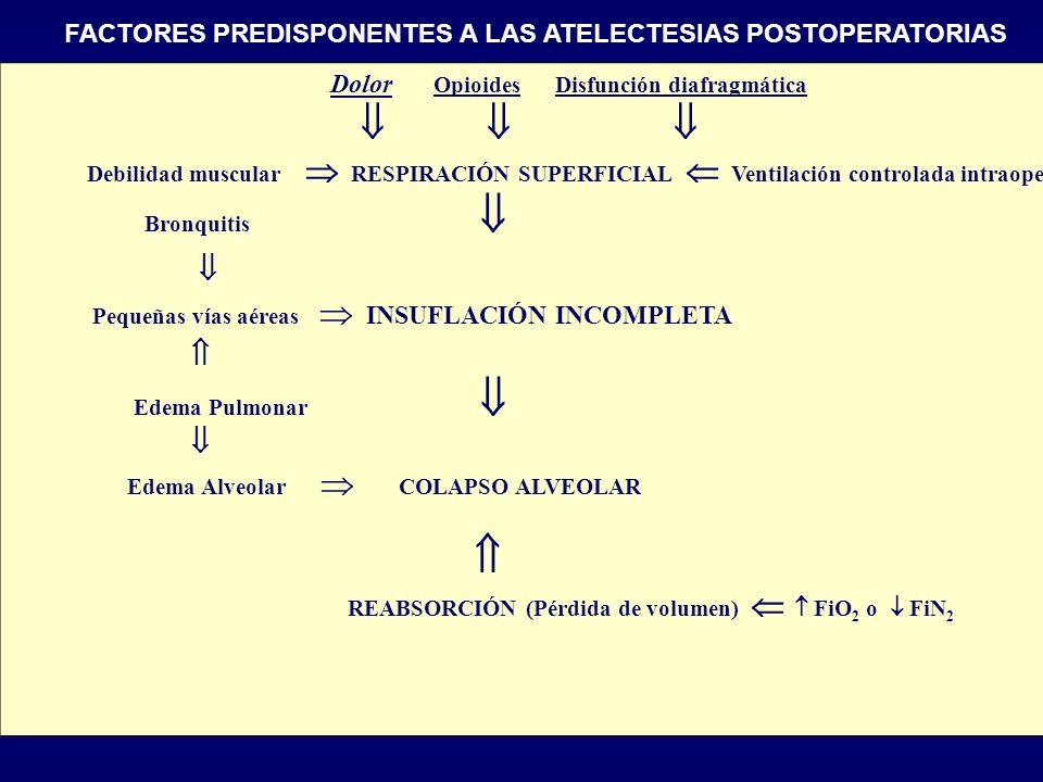      FACTORES PREDISPONENTES A LAS ATELECTESIAS POSTOPERATORIAS