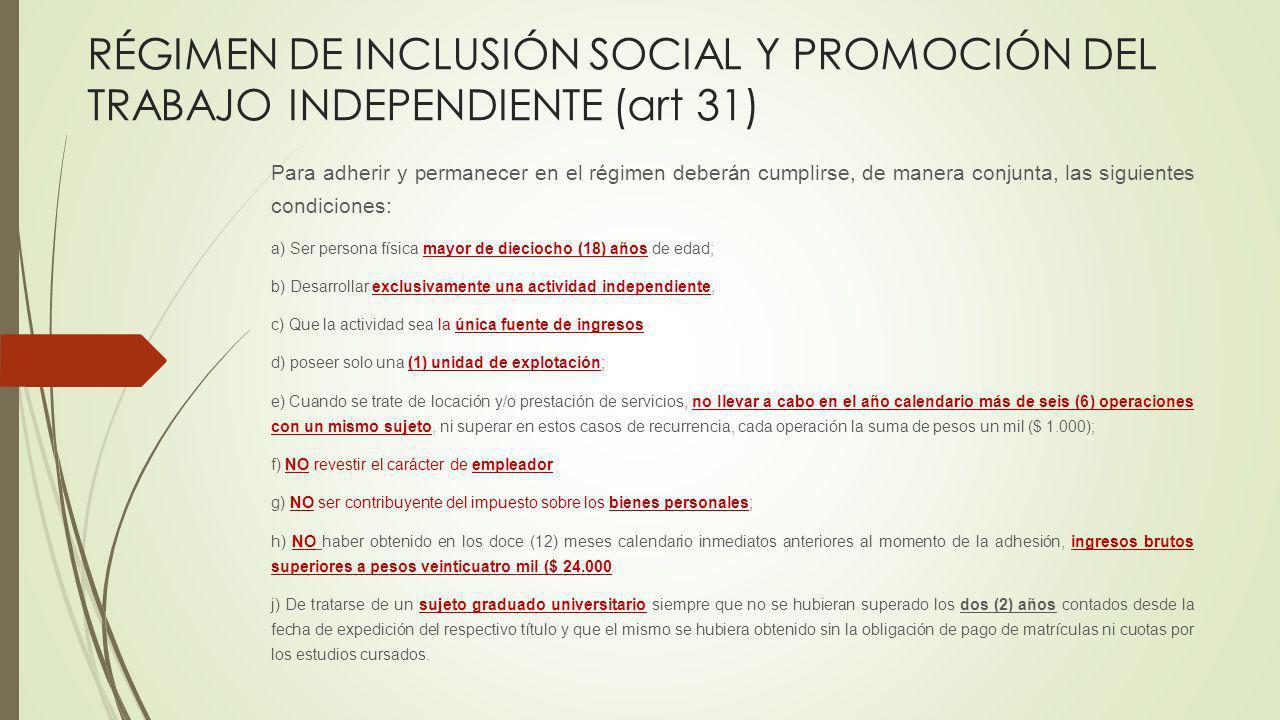 RÉGIMEN DE INCLUSIÓN SOCIAL Y PROMOCIÓN DEL TRABAJO INDEPENDIENTE (art 31)