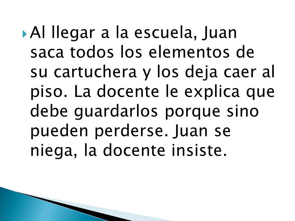 Al llegar a la escuela, Juan saca todos los elementos de su cartuchera y los deja caer al piso.