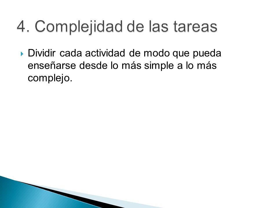 4. Complejidad de las tareas