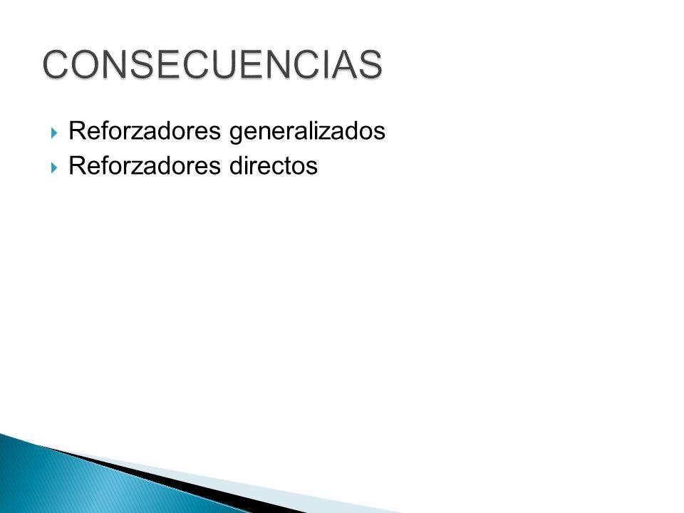 CONSECUENCIAS Reforzadores generalizados Reforzadores directos