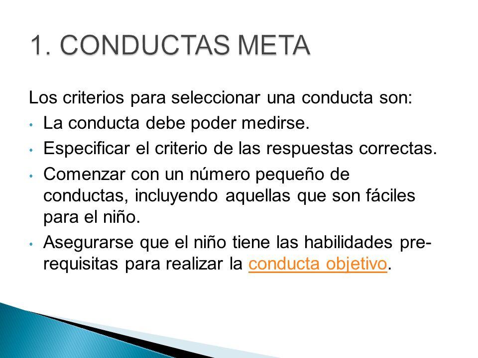 1. Conductas Meta Los criterios para seleccionar una conducta son: