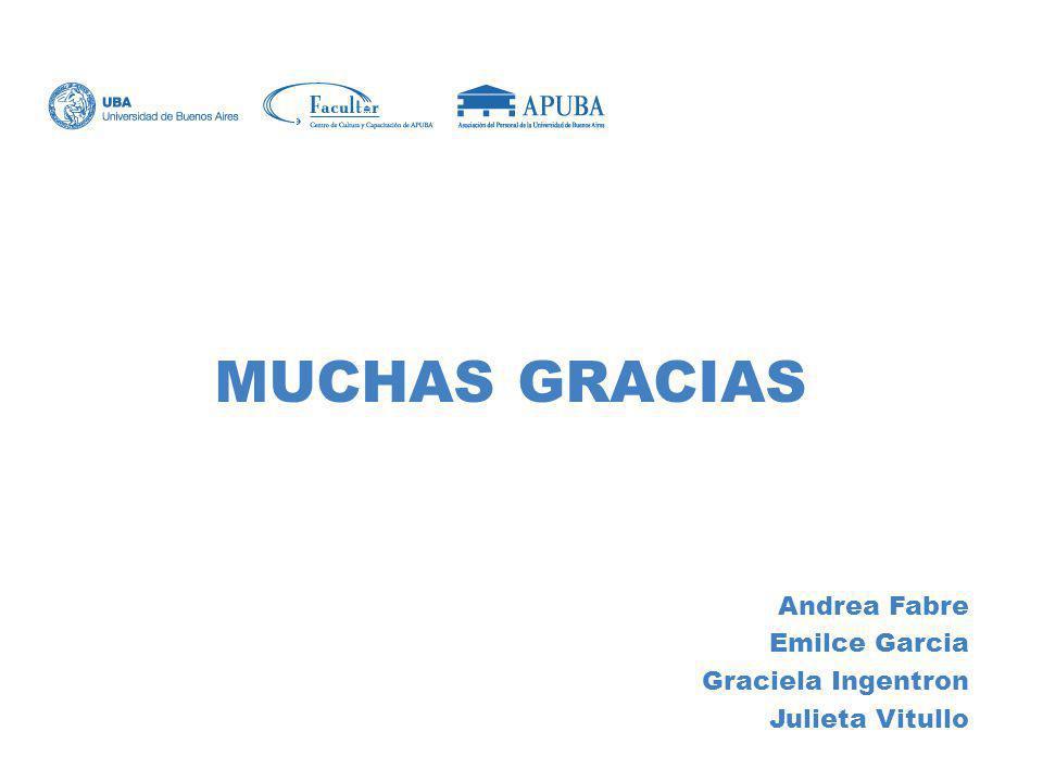 MUCHAS GRACIAS Andrea Fabre Emilce Garcia Graciela Ingentron