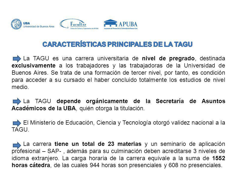 CARACTERÍSTICAS PRINCIPALES DE LA TAGU