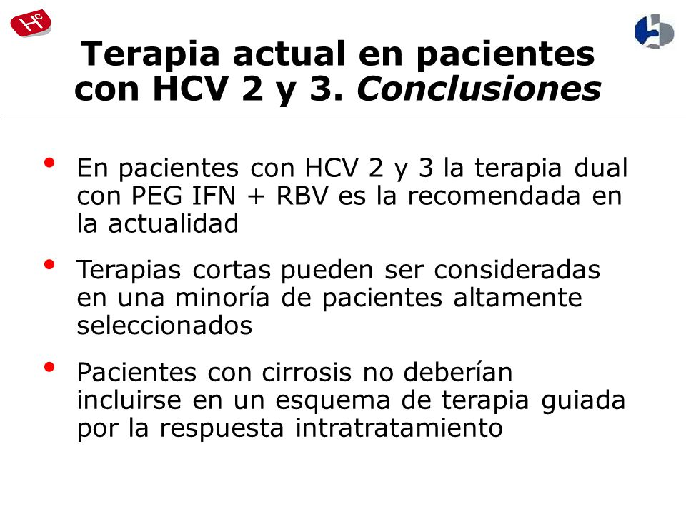 Terapia actual en pacientes con HCV 2 y 3. Conclusiones