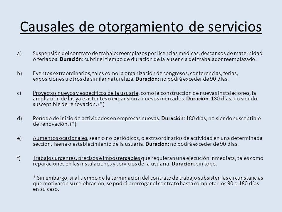Causales de otorgamiento de servicios