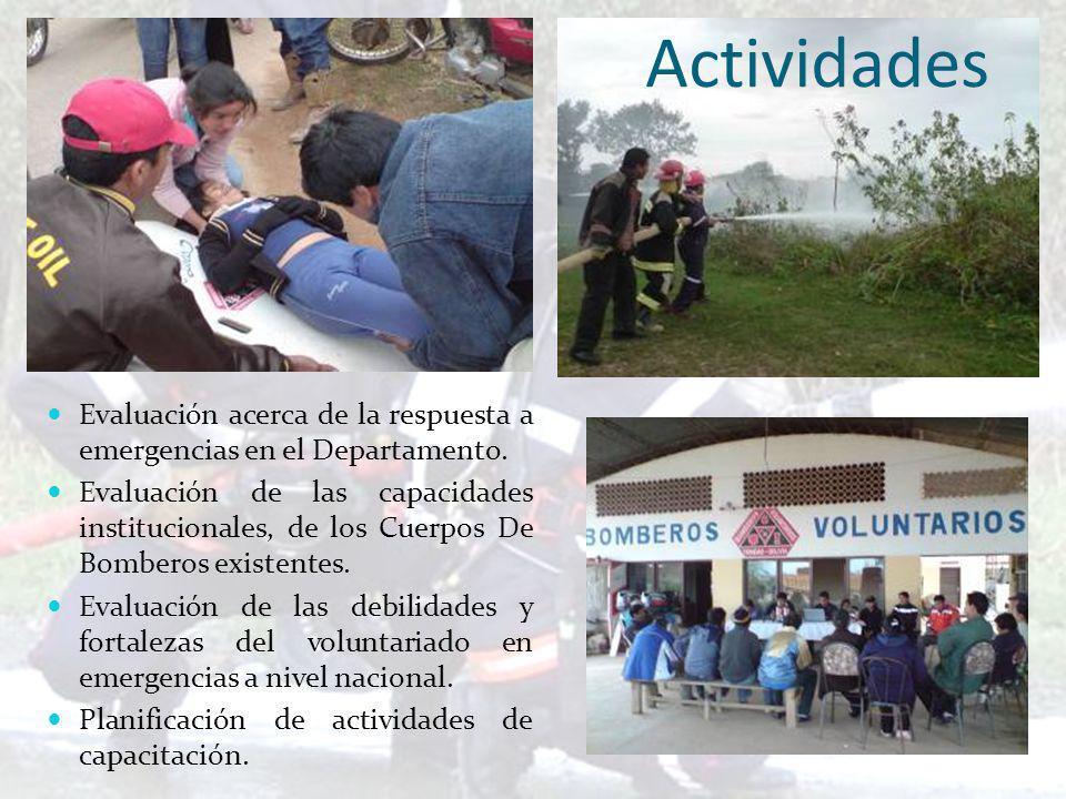 Actividades Evaluación acerca de la respuesta a emergencias en el Departamento.