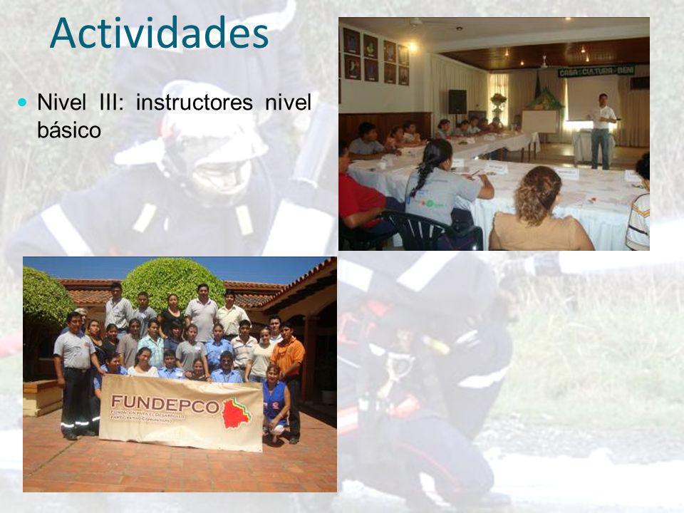 Actividades Nivel III: instructores nivel básico