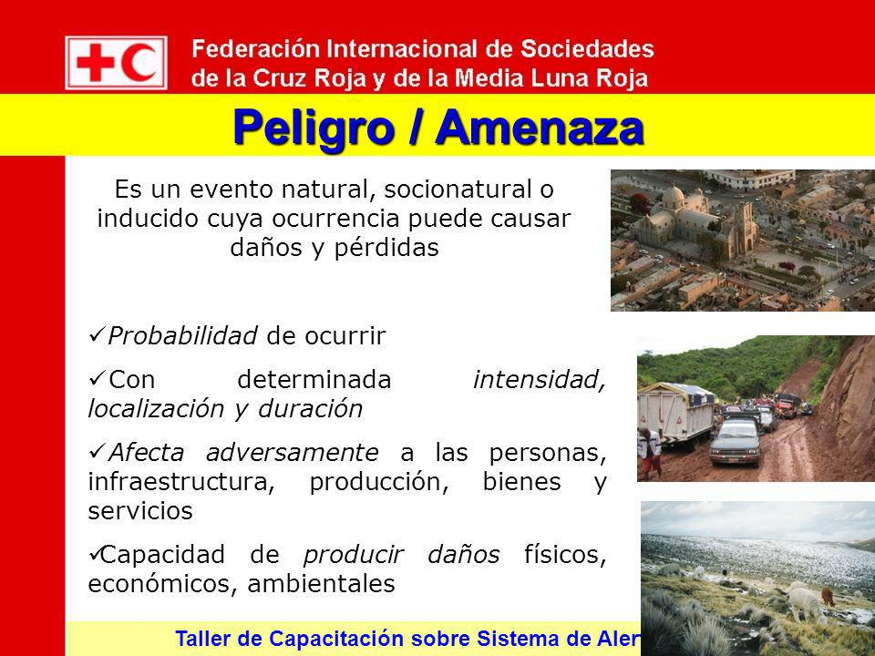 Peligro / Amenaza Es un evento natural, socionatural o inducido cuya ocurrencia puede causar daños y pérdidas.