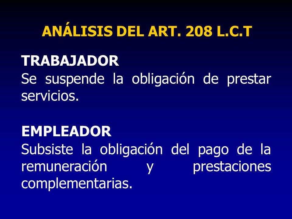 ANÁLISIS DEL ART. 208 L.C.T TRABAJADOR. Se suspende la obligación de prestar servicios. EMPLEADOR.