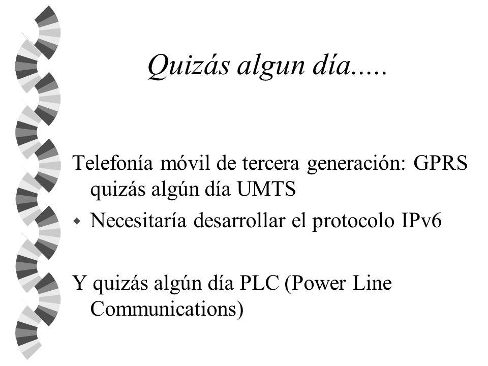 Quizás algun día..... Telefonía móvil de tercera generación: GPRS quizás algún día UMTS. Necesitaría desarrollar el protocolo IPv6.