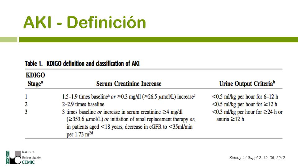 AKI - Definición Kidney Int Suppl 2: 19–36, 2012.