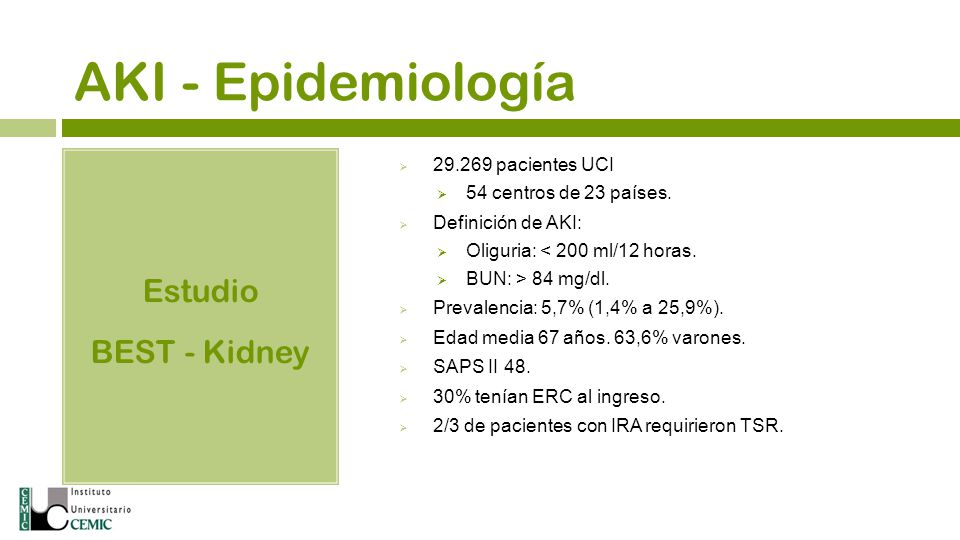 AKI - Epidemiología Estudio BEST - Kidney 29.269 pacientes UCI