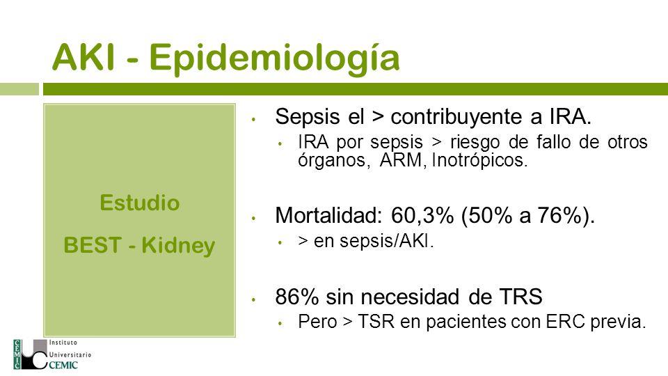 AKI - Epidemiología Sepsis el > contribuyente a IRA. Estudio