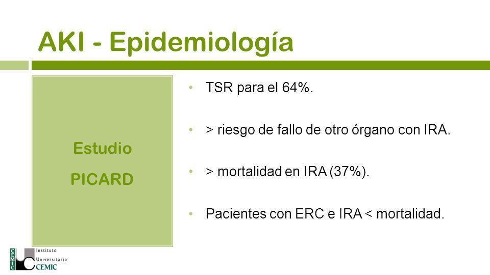 AKI - Epidemiología Estudio PICARD TSR para el 64%.