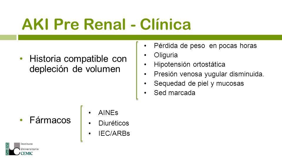 AKI Pre Renal - Clínica Historia compatible con depleción de volumen