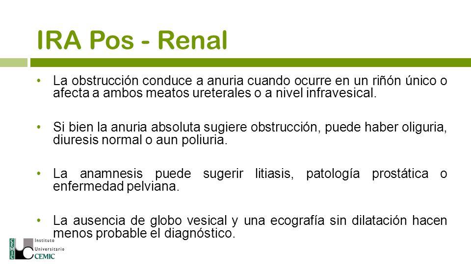 IRA Pos - Renal La obstrucción conduce a anuria cuando ocurre en un riñón único o afecta a ambos meatos ureterales o a nivel infravesical.