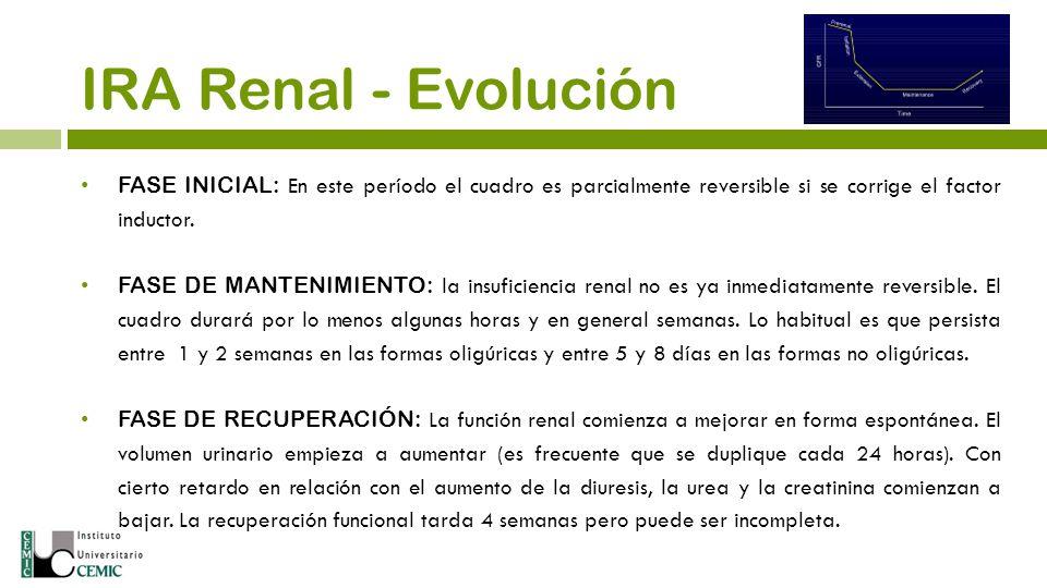IRA Renal - Evolución FASE INICIAL: En este período el cuadro es parcialmente reversible si se corrige el factor inductor.