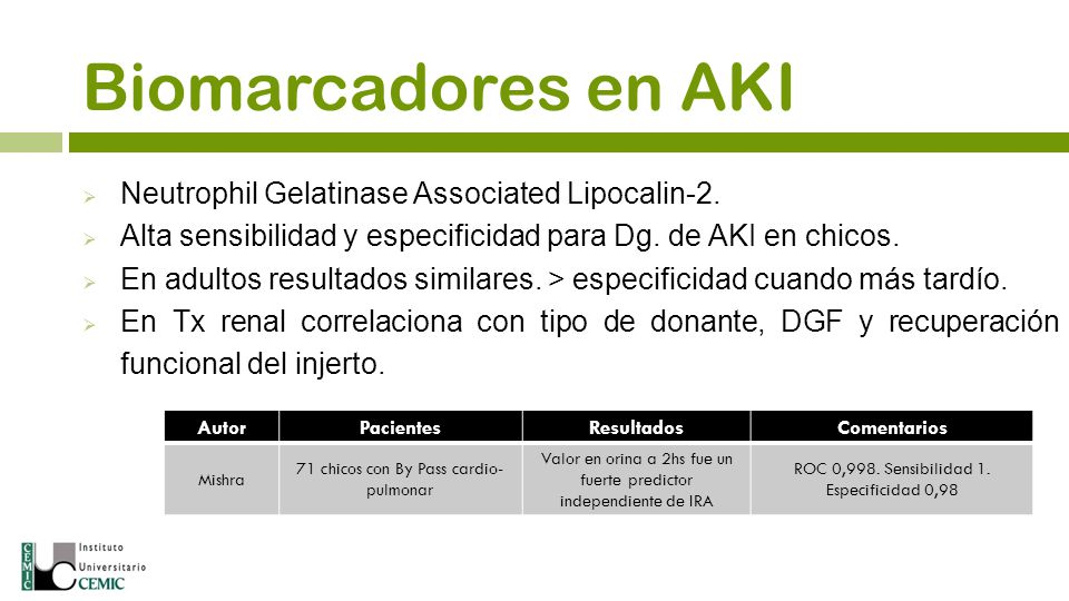 Biomarcadores en AKI Neutrophil Gelatinase Associated Lipocalin-2.