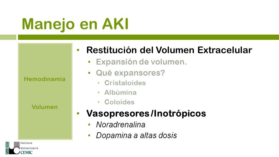 Manejo en AKI Restitución del Volumen Extracelular