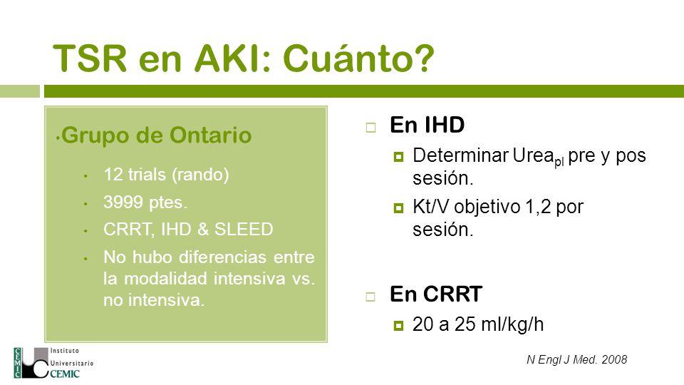 TSR en AKI: Cuánto En IHD Grupo de Ontario En CRRT