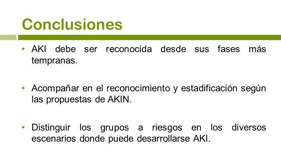 Conclusiones AKI debe ser reconocida desde sus fases más tempranas.