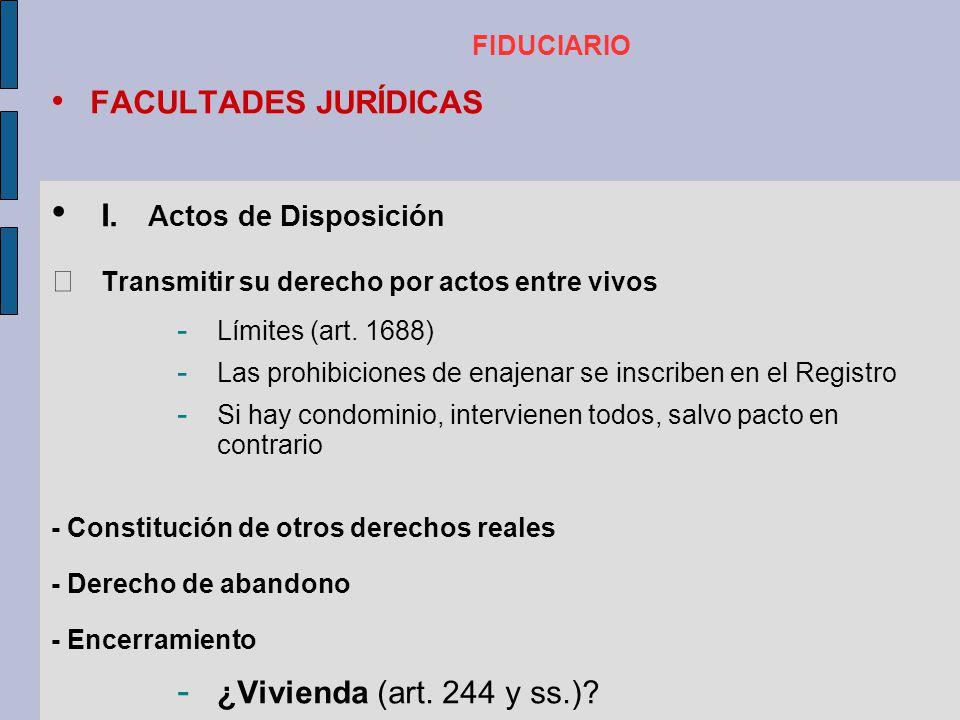 I. Actos de Disposición FACULTADES JURÍDICAS
