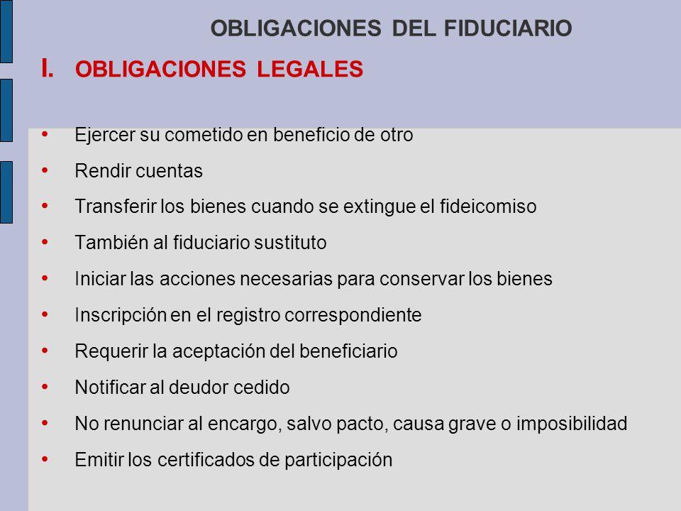 OBLIGACIONES DEL FIDUCIARIO